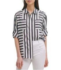 karl lagerfeld paris geometric stripe blouse