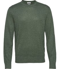 crewneck sweater in linen-cotton stickad tröja m. rund krage grön gap