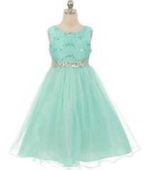 mint sequin bodice double layers tulle skirt rhinestones party flower girl dress