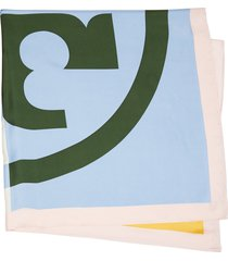 women's tory burch colorblock logo silk square scarf, size one size - blue