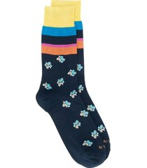 etro striped paisley pattern socks - blue