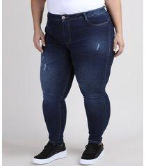 calça jeans feminina plus size sawary cigarrete push up cintura alta com puídos azul escuro