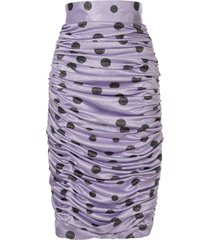 bambah polka dot ruched skirt - purple