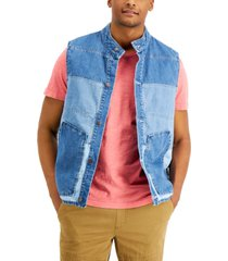 sun + stone men's brill pieced colorblocked denim vest