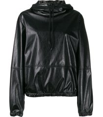msgm elasticated leather effect hoodie - black