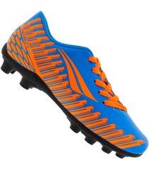 chuteira de campo penalty storm speed ix fg - infantil - azul/laranja