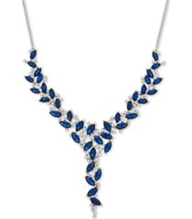 """emerald (11-5/8 ct. t.w.) & diamond (1/2 ct. t.w.) 16"""" statement necklace in 14k gold (also in sapphire & certified ruby)"""