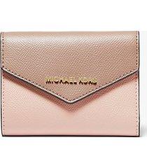 mk portafoglio a bustina jetset medio in pelle a grana incrociata bicolore - rosa tenue/marrone chiaro (rosa) - michael kors