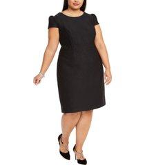 betsey johnson trendy plus size cap-sleeve jacquard sheath dress