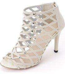 khaki sexy peep toe hollow design high-heeled sandals