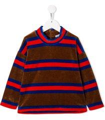 mini rodini velour stripe sweatshirt - brown