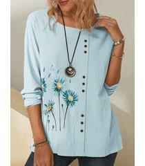 camicetta casual da donna a maniche lunghe con stampa a fiori margherita con bottoni