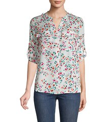 floral roll-tab sleeve shirt