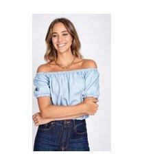 blusa top jeans bloom cropped ciganinha delavê