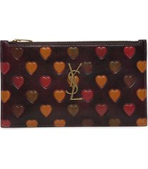 heart-embossed monogram bill pouch red