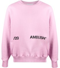 ambush logo-print cotton sweatshirt - pink