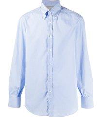 brunello cucinelli micro gingham shirt - blue