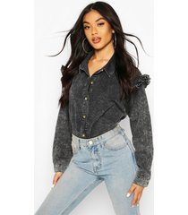 acid wash frill shoulder denim shirt, black