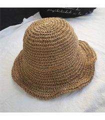 sombrero para mujer, hecho a mano paja ganchillo-marrón