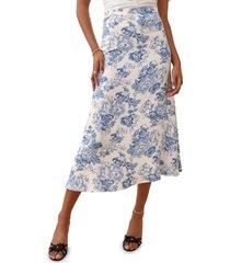 women's reformation bea midi skirt, size 10 - blue