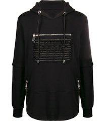 philipp plein spike stud zipped detail hoodie - black