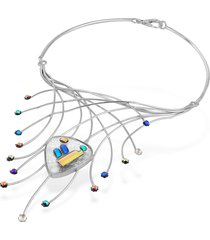 forzieri designer necklaces, fireworks glass stones sterling silver necklace