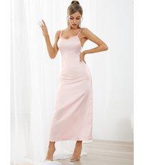 vestido largo sin mangas semi transparente con diseño sin espalda yoins