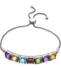 multi-gemstone (11 ct. t.w.) bolo bracelet in sterling silver