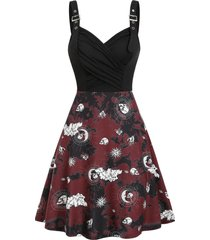 tie dye skull sun moon print ruched gothic cami dress