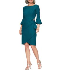 women's alex evenings bell sleeve sheath dress, size 16 - blue