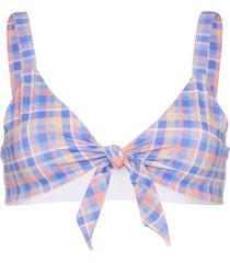 ambra maddalena becca bow-embellished checked bikini top - blue