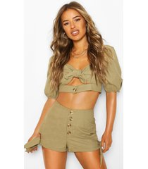 petite linen look tie detail crop top, khaki