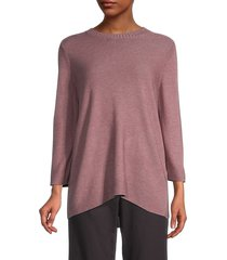 eileen fisher women's textured knit top - mauve - size s