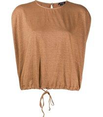 aspesi short-sleeved drawstring-hem top - brown