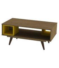 mesa centro retrô 45 rustik carvalho e amarelo olivar