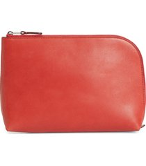 the row medium leather zip pouch - red
