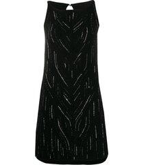 ermanno scervino fine knit mini dress - black