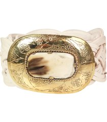 miss june braided leather belt white/gold