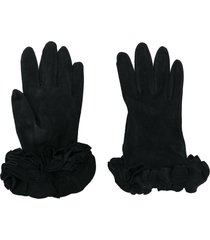 giorgio armani pre-owned ruffled gloves - black