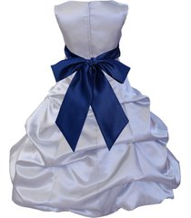 bubble satin silver flower girl dress pageant wedding bridesmaid recital new 806
