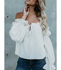 yoins amarre blanco diseño fuera del hombro camisa