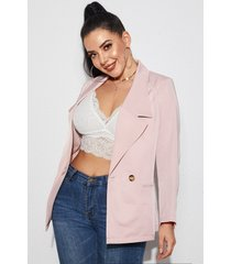yoins rosa blazer de manga larga con bolsillos laterales y cuello con muesca
