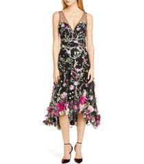 women's marchesa notte floral applique high/low cocktail dress, size 14 - black