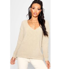 oversized v neck sweater, stone