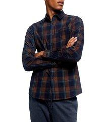 men's topman slim fit plaid button-up shirt, size x-small - blue