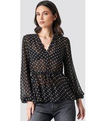 na-kd boho drawstring waist chiffon blouse - black