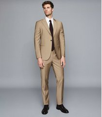 reiss barolo - wool modern fit suit in taupe, mens, size 46
