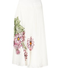 a.n.g.e.l.o. vintage cult 1990s floral print mid-length skirt - white