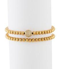 eye candy la men's aaron 2-piece goldone cubic zirconia beaded bracelet set