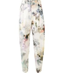 agnona floral-print belted trousers - white